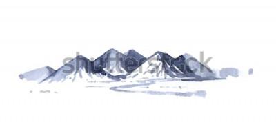 Väggdekor Ritning berg akvarell