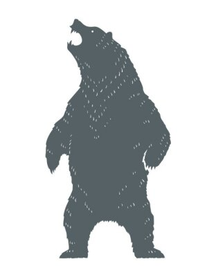 Väggdekor Roaring Bear Silhouette