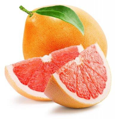 Väggdekor röd grapefrukt med skiva isolerad på den vita bakgrunden