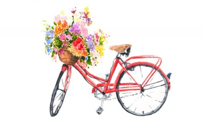 Väggdekor Röd retro cykel med färgglada blommor i korg, akvarellillustratör, cykelkonst, kan användas för heminredning