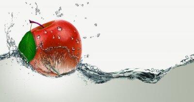 Väggdekor Röd, saftig Apple i en spray av vatten.