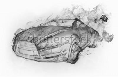 Väggdekor Rökbil skriv på en vit bakgrund. Original bil design.