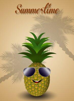 Väggdekor Rolig ananas för sommartid