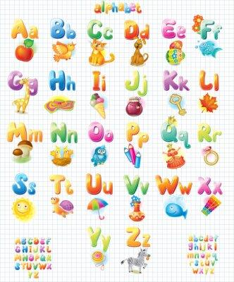 Väggdekor Roligt alfabet med bilder för barn