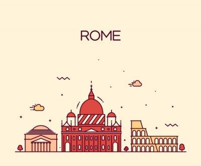 Väggdekor Rom skyline detaljerad vektor linje konst stil