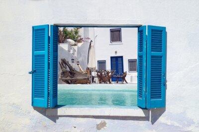 Väggdekor Romantisk semester på ön Santorini, Grekland