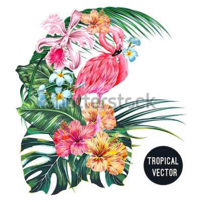 Väggdekor Rosa flamingo fågel, tropiska blommor, palmblad, monstera, plumeria, hibiskus, orkidéblomma, djungelbladkomposition. Vector exotiska växter botanisk illustration isolerad på vit bakgrund