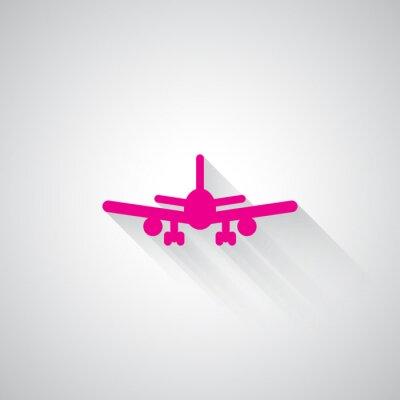 Väggdekor Rosa Flygplan webb ikonen på ljusgrå bakgrund