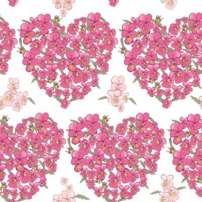 Väggdekor Rosa hjärta av penséer på en vit bakgrund. Seamless