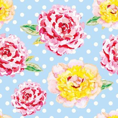 Väggdekor Rosa och gula pioner på ljusblå prickiga bakgrund. Akvarell sömlösa mönster med blommor. Shabby chic.