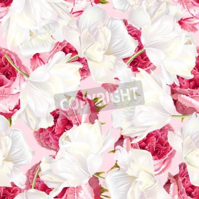 Väggdekor Rose tulip seamless pattern