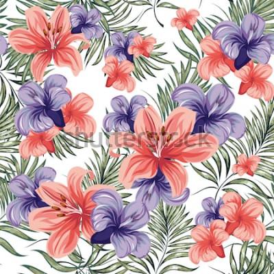 Väggdekor Roses. Blommande vår-sommarblommor växter. Seamless mönster. Vektorbild.