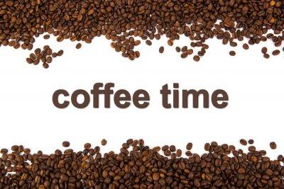 Väggdekor rostade kaffebönor med titeln