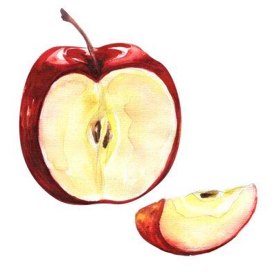 Väggdekor Rött äpple isolerad på vit bakgrund utklipp