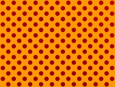 Väggdekor Rött prickigt på orange bakgrund