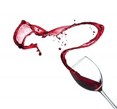 Väggdekor Rött vin stänk av glas, isolerad på vit bakgrund