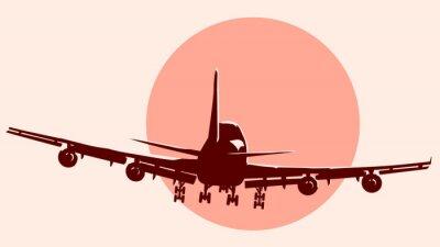 Väggdekor Runda logo illustration av flygande flygplan.