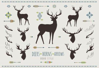 Väggdekor Rustika Antlers. Ställ silhuetter av rustika hjorthorn mönster