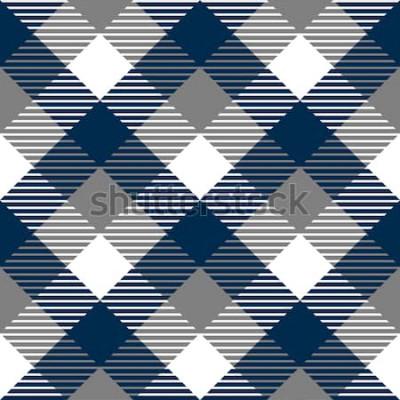Väggdekor Rutig sömlös modell för ginghamtyg i blått grått och vitt, vektor