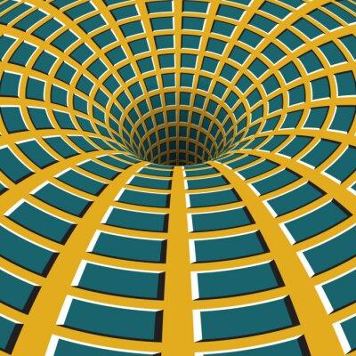 Väggdekor Rutig tratt. Roterande hål. Brokiga rörlig bakgrund. Optisk illusion illustration.