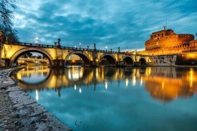 Väggdekor S.Angelo bro och slott, Rom, Italien