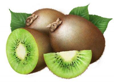 Väggdekor saftig kiwi med blad på vit bakgrund, frukt