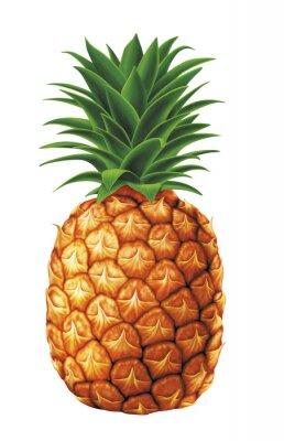 Väggdekor saftiga färska vattendroppar av ananas på vit bakgrund