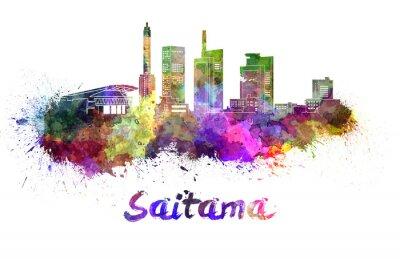 Väggdekor Saitama skyline i vattenfärg