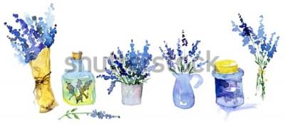 Väggdekor Samling av lavendelblommor på en vit bakgrund. Vintage blommor set. Örter från trädgården. Örter som isoleras på vit. Örter växt. trädgårdsarbete land design. blomsterhandlare, växtdekoration. Isolera