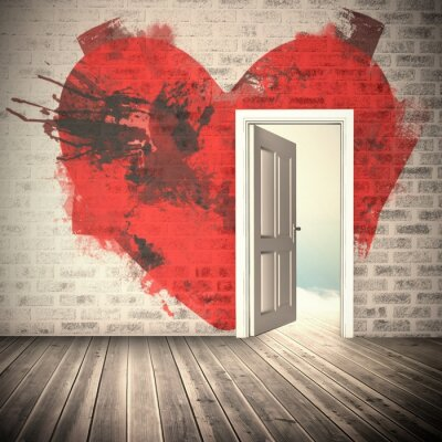 Väggdekor Sammansatt bild av hjärtat