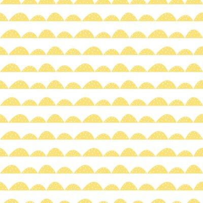 Väggdekor Scandinavian seamless gul mönster i handritad stil. Stiliserade hill rader. Wave enkelt mönster för tyg, textil och barn linne.