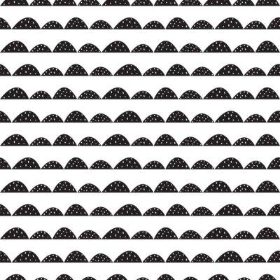 Väggdekor Scandinavian sömlösa svart och vitt mönster i handritad stil. Stiliserade hill rader. Wave enkelt mönster för tyg, textil och barn linne.