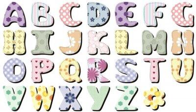 Väggdekor scrapbook alfabetet på vit bakgrund