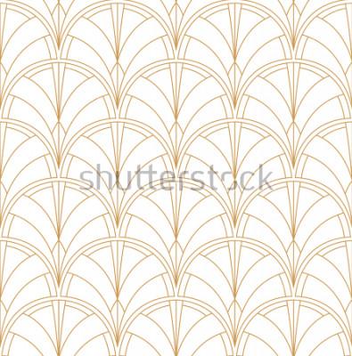 Väggdekor Seamless Art Deco Pattern. Vintage minimalistisk bakgrund. Abstrakt Lyx Illustration.