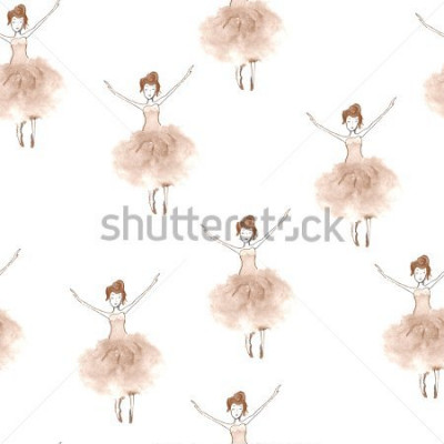 Väggdekor Seamless background with watercolor elegant ballet dancers. Hand painted elements. Decorative pattern for web, wallpaper, textile, clothing, fabric, scrapbook, stationery, home decor.