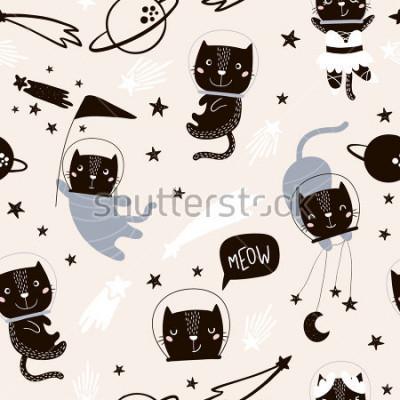 Väggdekor Seamless barnsligt mönster med söta katter astronauter. Kreativ barnkammare bakgrund. Perfekt för barndesign, tyg, inslagning, tapeter, textilier, kläder