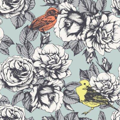 Väggdekor Seamless blommönster med handritade rosor och fåglar. Vektor