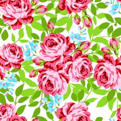 Väggdekor Seamless blommönster med trädgård rosa rosor