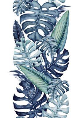 Väggdekor Seamless Border of Watercolor Monstera and Banana Leaves