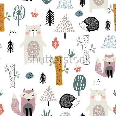 Väggdekor Seamless childish pattern with cute bear, fox, hedgehogs in the wood. Creative kids scandinavian style texture for fabric, wrapping, textile, wallpaper, apparel. Vector illustration