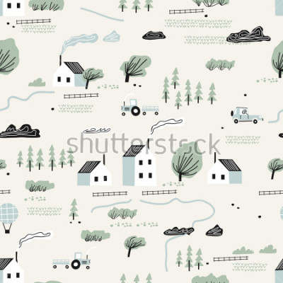 Väggdekor seamless colorful pattern with house,trees and mountains. Nordic nature landscape concept. Perfect for kids fabric, textile, nursery wallpaper.