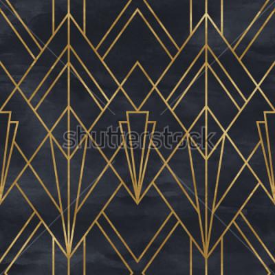 Väggdekor Seamless geometrisk mönster på pappersstruktur. Art Deco bakgrund