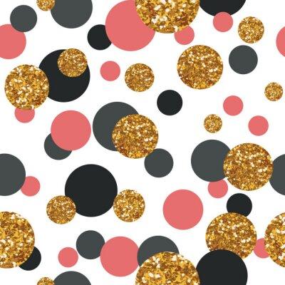 Väggdekor Seamless guld- glitter prickar.
