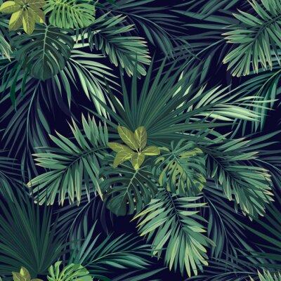 Väggdekor Seamless handritad botaniska exotiska vektor mönster med gröna palmblad på mörk bakgrund.