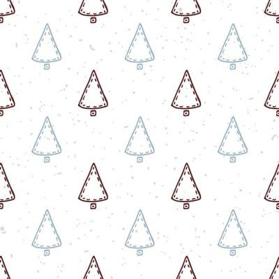 Väggdekor Seamless handritad julgran. Klotter semester bakgrund