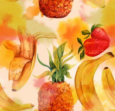 Väggdekor Seamless ljusa bananer, jordgubbar och en ananas