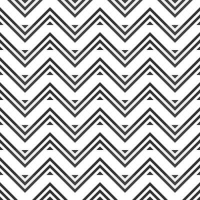 Väggdekor Seamless mönster av grå sicksack på vit bakgrund