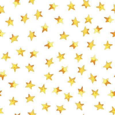 Väggdekor Seamless mönster av handritning gula enkla stjärnor i tecknad barnslig stil på vit bakgrund