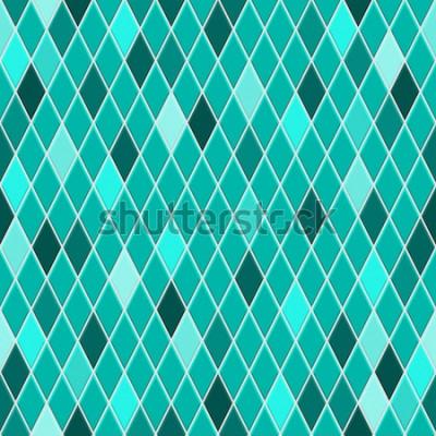 Väggdekor Seamless mönster av små romb i turkosa färger med några färgade romb