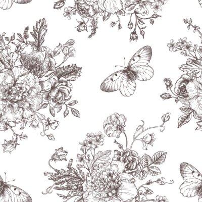 Väggdekor Seamless mönster blommor och fjärilar.